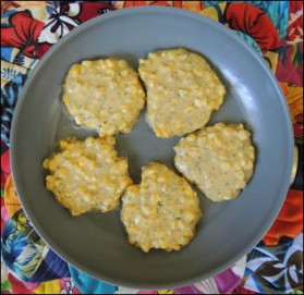 Fritters cooking in the pan