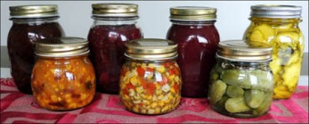 Left to Right: Plum Chutney, Corn Relish (Southern), Beetroot Chutney, Cilantro Corn Relish, Plum Sauce, Pickled Gherkins, Pickled Zucchini