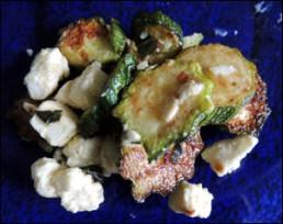 Sauteed zucchini with fresh ricotta