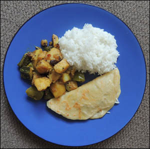 Vegan curry with Basmati rice and roti
