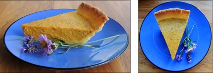 A healthy serving of pumpkin pie.