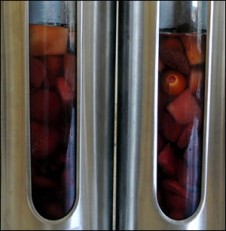 A view of the fruit macerating in the rum pot.