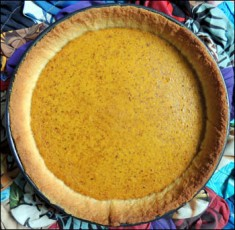 Pumpkin pie, straight from the oven.