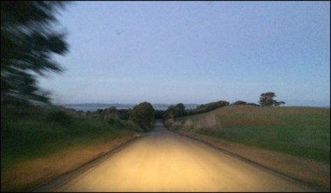 Driving home at dusk.