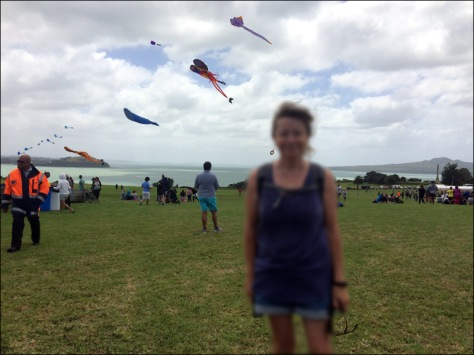 Kites flying at Bastion Point. Celebrating Waitangi Day, February 2015